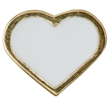 Design Letters Enamel Heart Charm White Gold