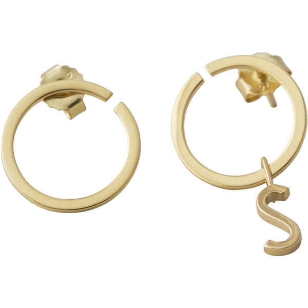 Design Letters Earring Hoops 16 mm Gold (Kuva 2 tuotteesta 2)