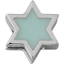 Soft Green - Design Letters Enamel Star Charm Silver